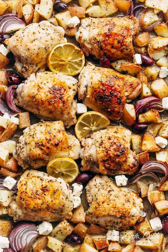Greek Chicken Potatoes One Pan Cafe Delites