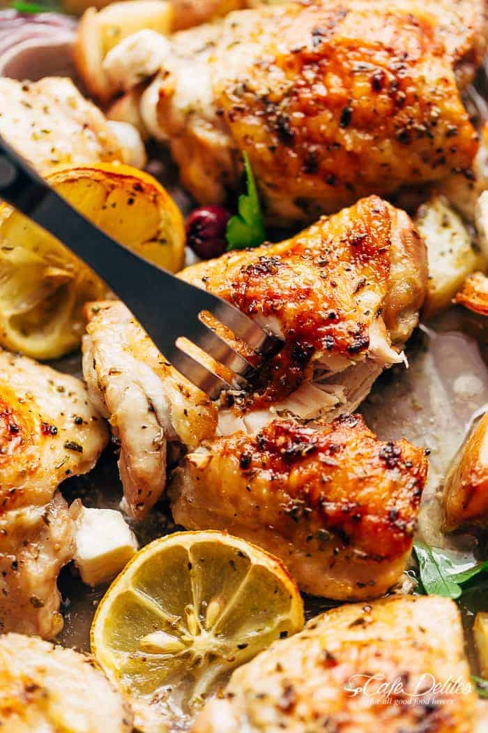 Greek Chicken + Potatoes (One Pan)   https://cafedelites.com