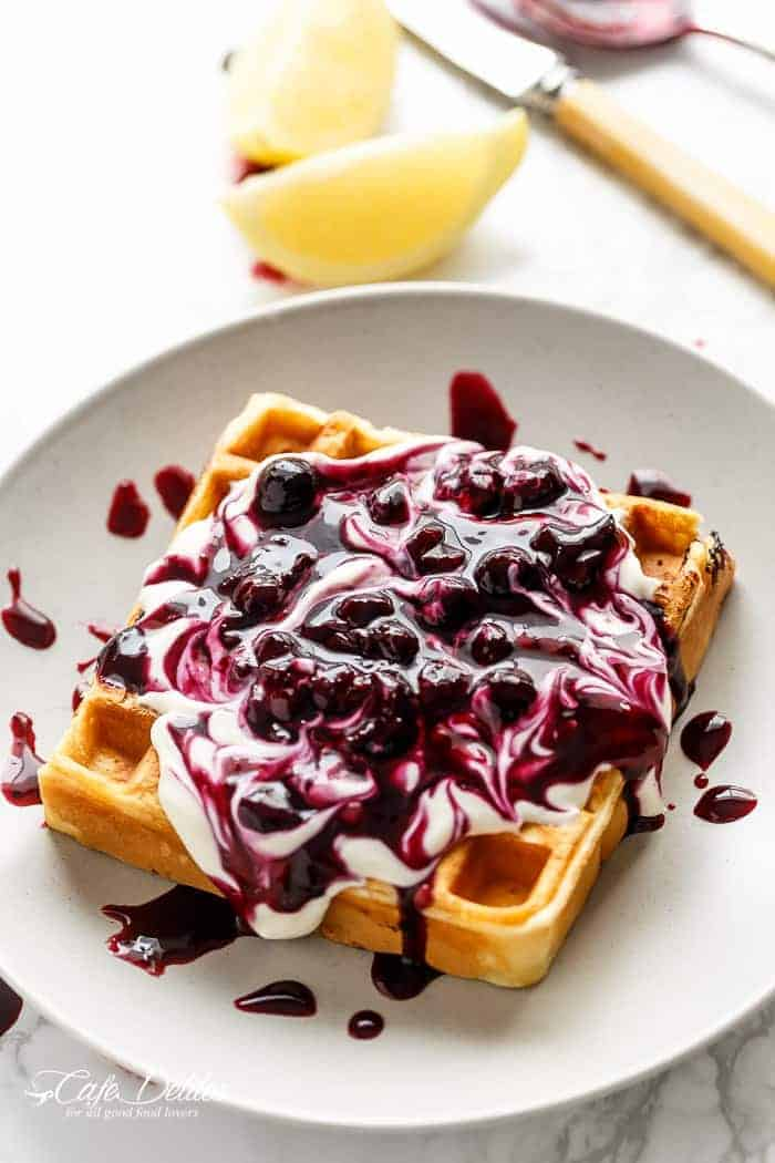 Classic Blueberry Lemon Cheesecake Waffles | http://cafedelites.com