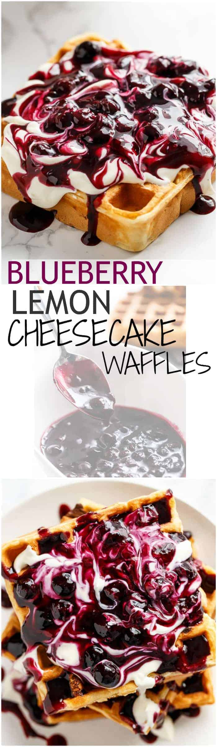 Blueberry Lemon Cheesecake Waffles bursting with blueberries in every bite, served with a creamy cheesecake toping and fresh home-made Blueberry Sauce! | https://cafedelites.com
