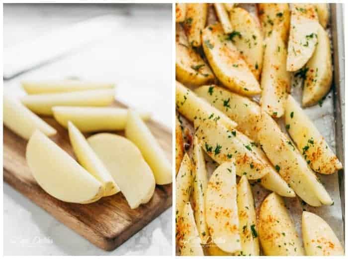 Crispy Garlic Baked Potato Wedges | https://cafedelites.com