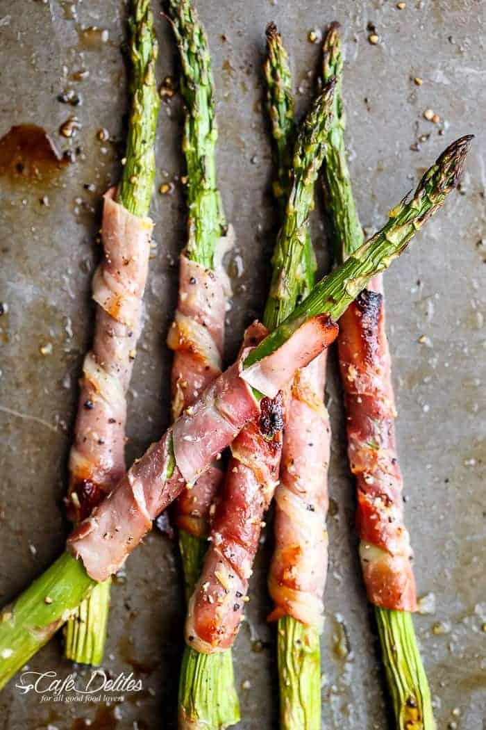 Garlic Butter Prosciutto Wrapped Asparagus | https://cafedelites.com