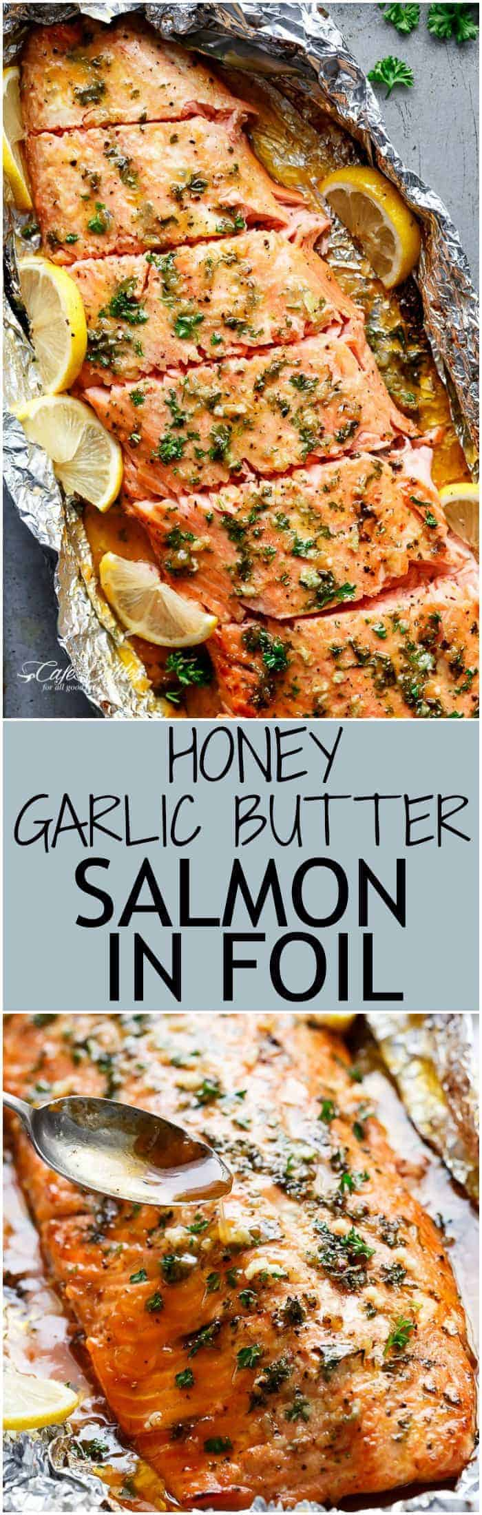 Honey Garlic Butter Salmon In Foil in under 20 minutes, then broiled (or grilled) for that extra golden, crispy and caramelised finish! So simple and only 4 main ingredients, with no mess to clean up! | https://cafedelites.com