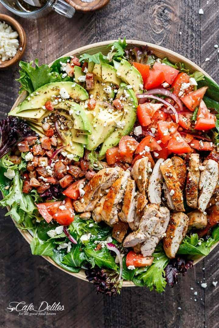 BLT Balsamic Chicken Avocado & Feta Salad | https://cafedelites.com