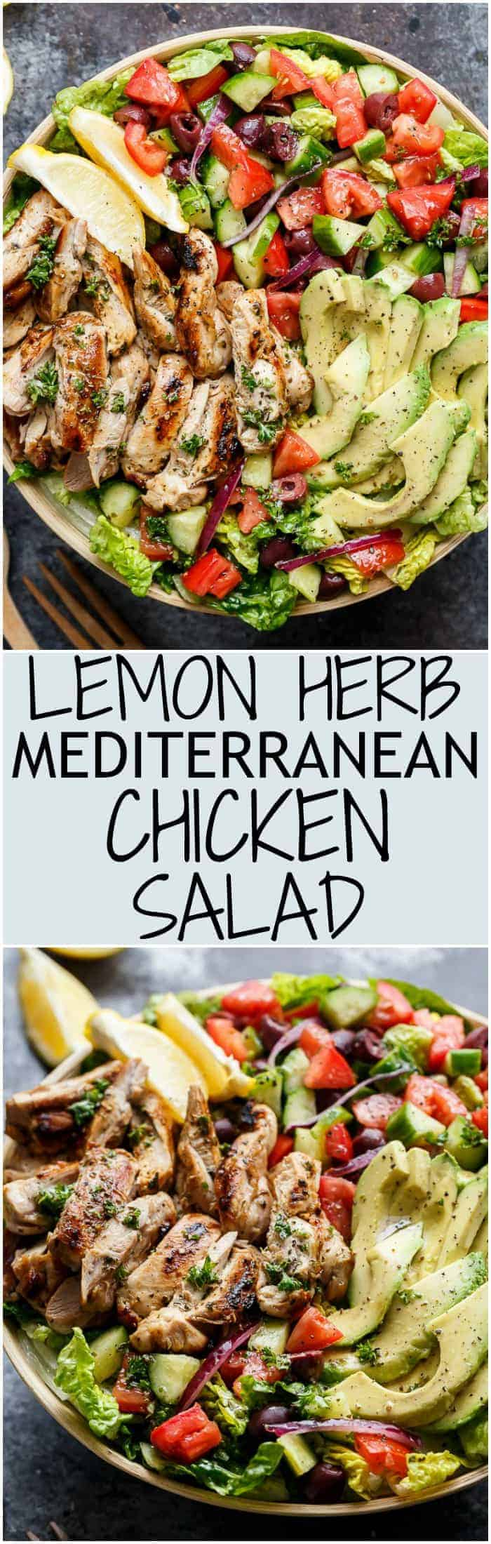 Grilled Lemon Herb Mediterranean Chicken Salad that is full of Mediterranean flavours with a dressing that doubles as a marinade!   https://cafedelites.com