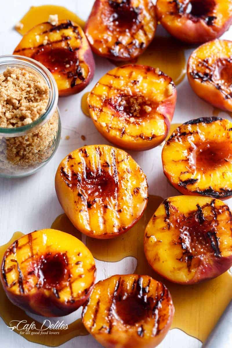 Maple Grilled Peaches With An Almond Cookie Crumb | http://cafedelites.com