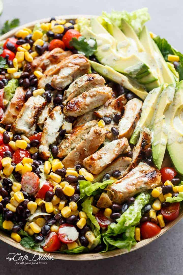 Southwestern Chicken Salad With A Low Fat Creamy Dressing | http://cafedelites.com