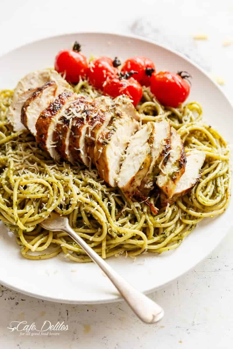 Basil Pesto Chicken Spaghetti | http://cafedelites.com