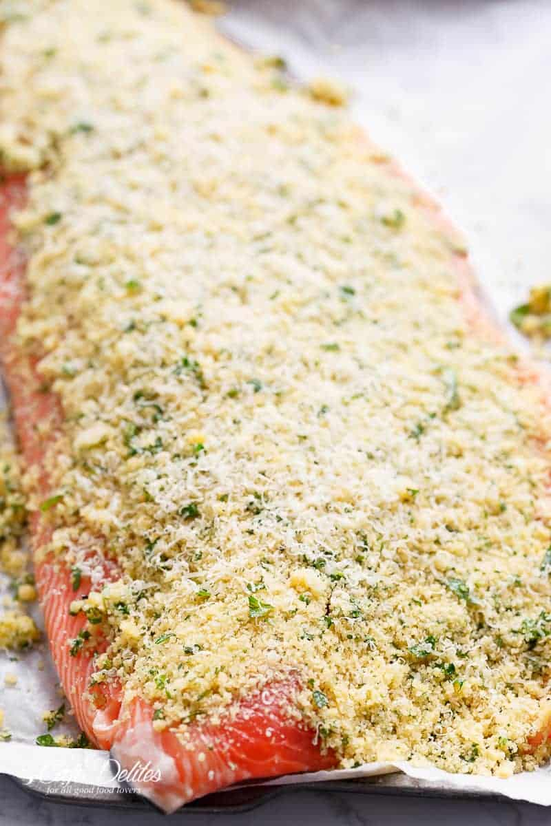 Restaurant quality roasted salmon at home with a 5-ingredient crispy crumb top!
