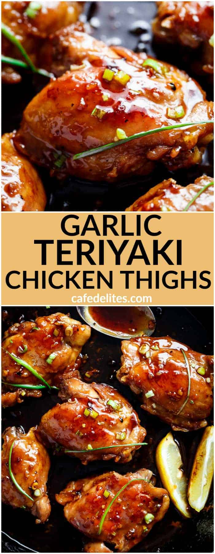 Garlic Teriyaki Chicken Thighs are cooked right on the stove without needing an oven! Better than any store bought teriyaki, this recipe is a family favourite! | https://cafedelites.com