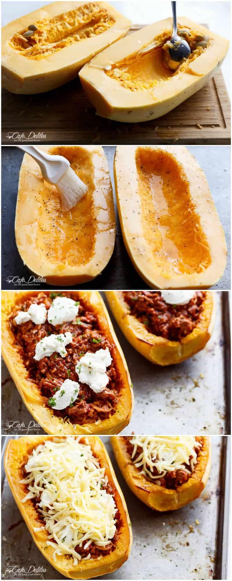 Spaghetti Squash Lasagna Boats | http://cafedelites.com