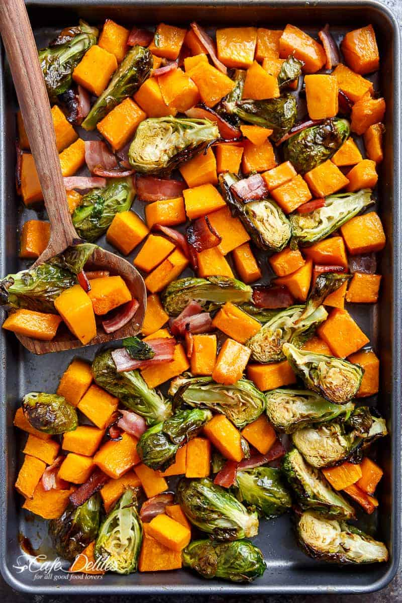 Honey Roasted Butternut Squash & Brussels Sprouts With Bacon | http://cafedelites.com