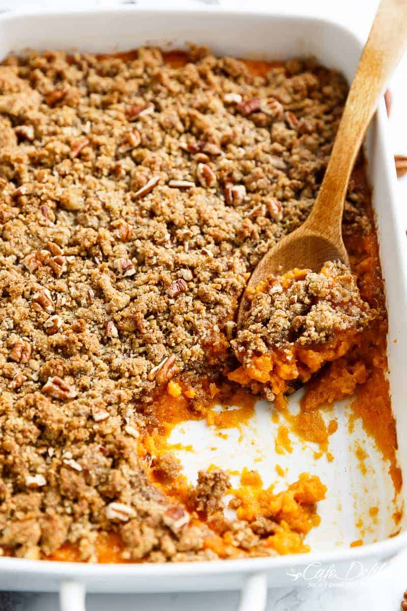 Sweet Potato Casserole (Lightened Up) with a cool trick to cook your sweet potatoes in a QUARTER amount of time for last minute preparation! | https://cafedelites.com