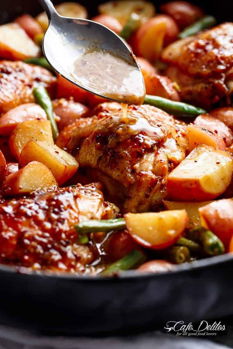 Honey Mustard Chicken & Potatoes | https://cafedelites.com