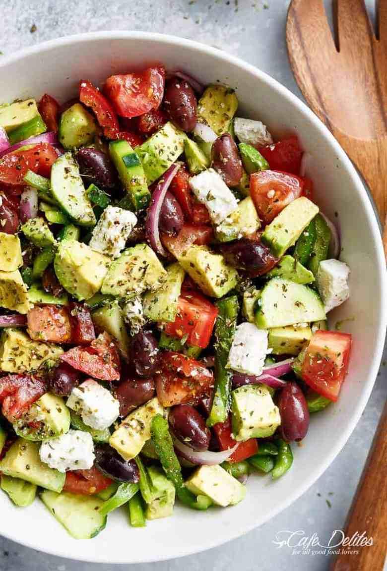 Avocado Greek Salad & Greek Salad Dressing