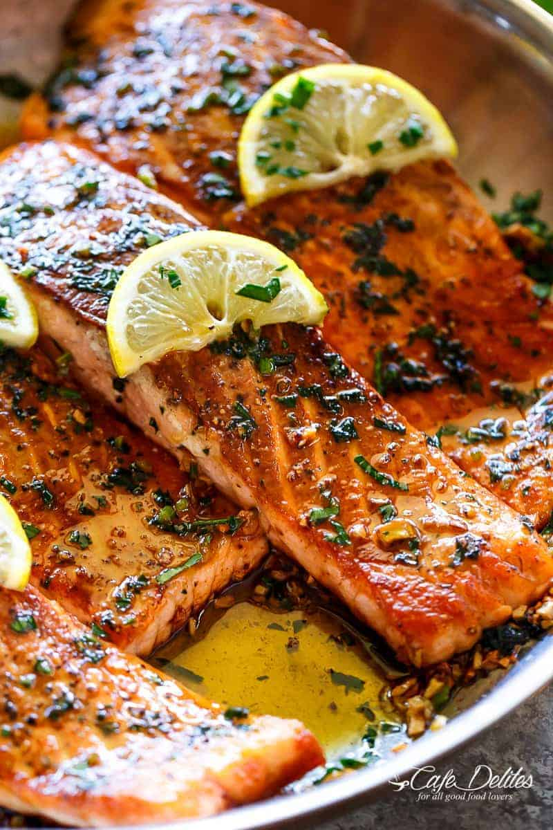 Pan Seared Salmon With Lemon Garlic Butter Sauce Cafe