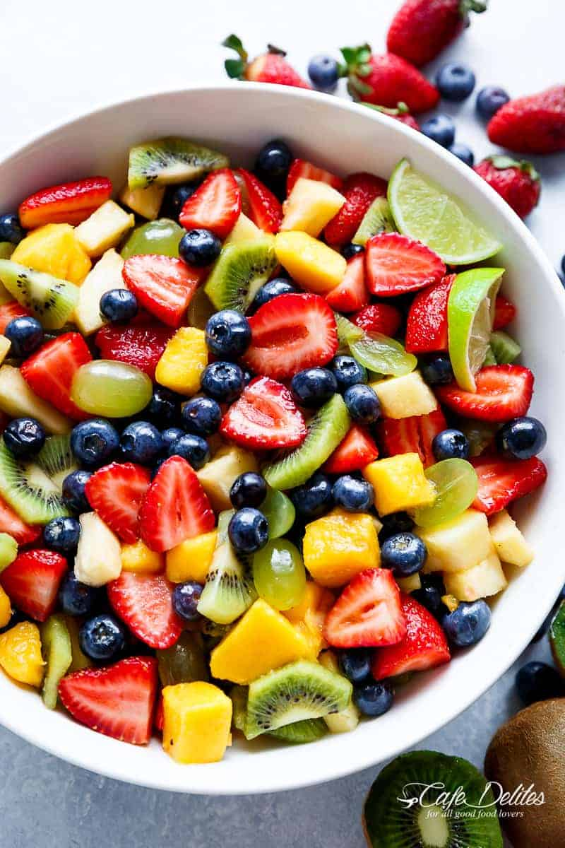Honey Lime Fruit Salad | https://cafedelites.com