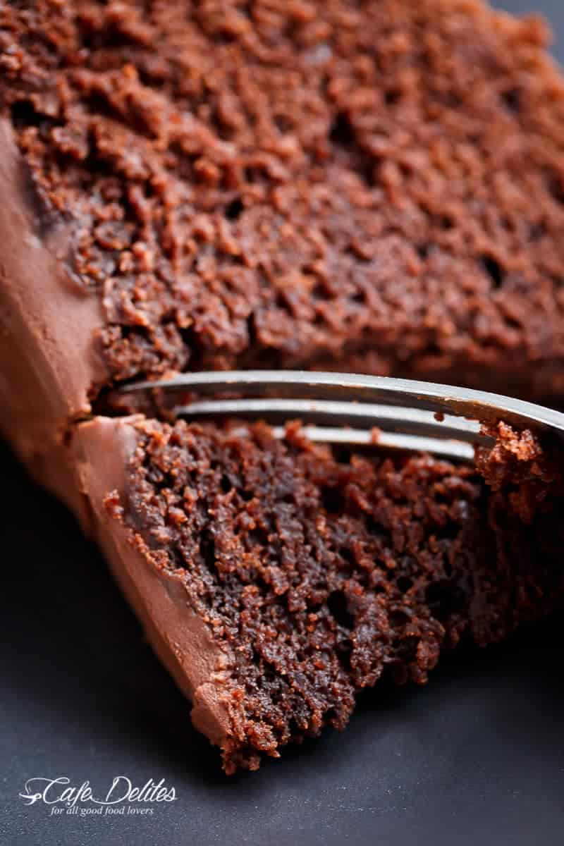 The most amazing, ONE BOWL, BEST Fudgy Chocolate Cake is so rich and decadent, with the perfect balance of fluffy and fudgy![br] An ORIGINAL Cafe Delites RECIPE!   https://cafedelites.com
