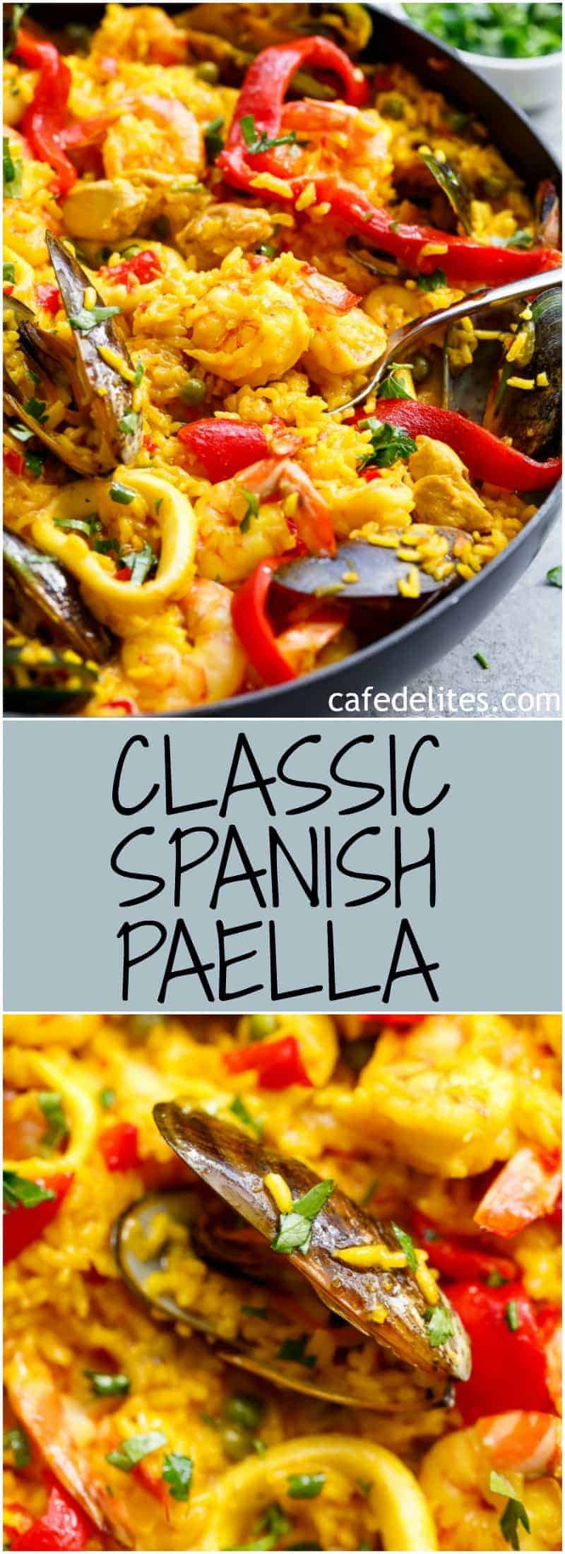 This Classic Spanish Paella rivals any restaurant paella! Sometimes nothing compares to good home cooking, and recipe by a beloved mother   https://cafedelites.com