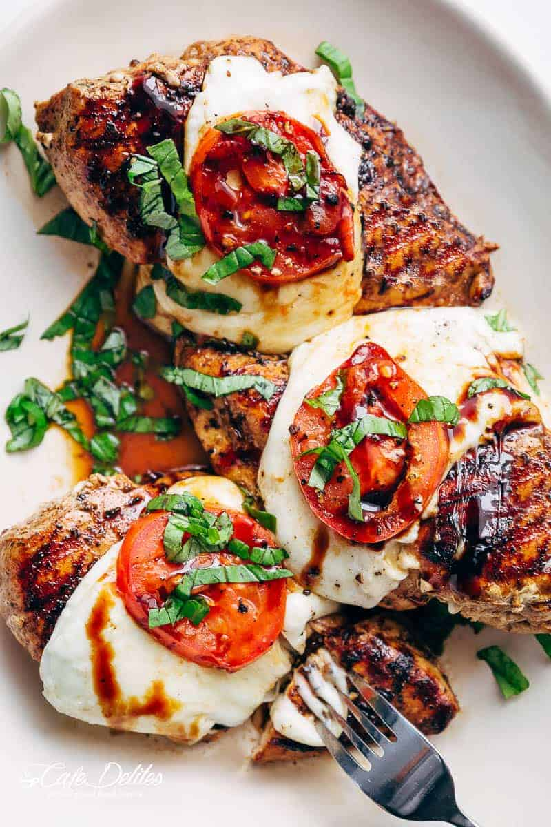Grilled Chicken Caprese, with soft, creamy Buffalo Mozzarella slices will become a family favourite grilling recipe! A low carb lunch or dinner!   https://cafedelites.com