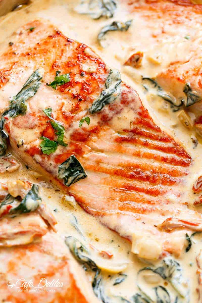 Creamy garlic butter tuscan salmon cafe delites for Creamy sauce served with fish