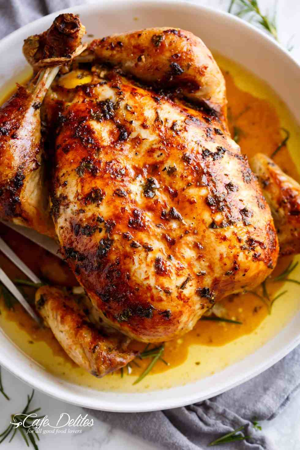Garlic Herb Butter Roast Chicken beats rotisserie chicken! | cafedelites.com