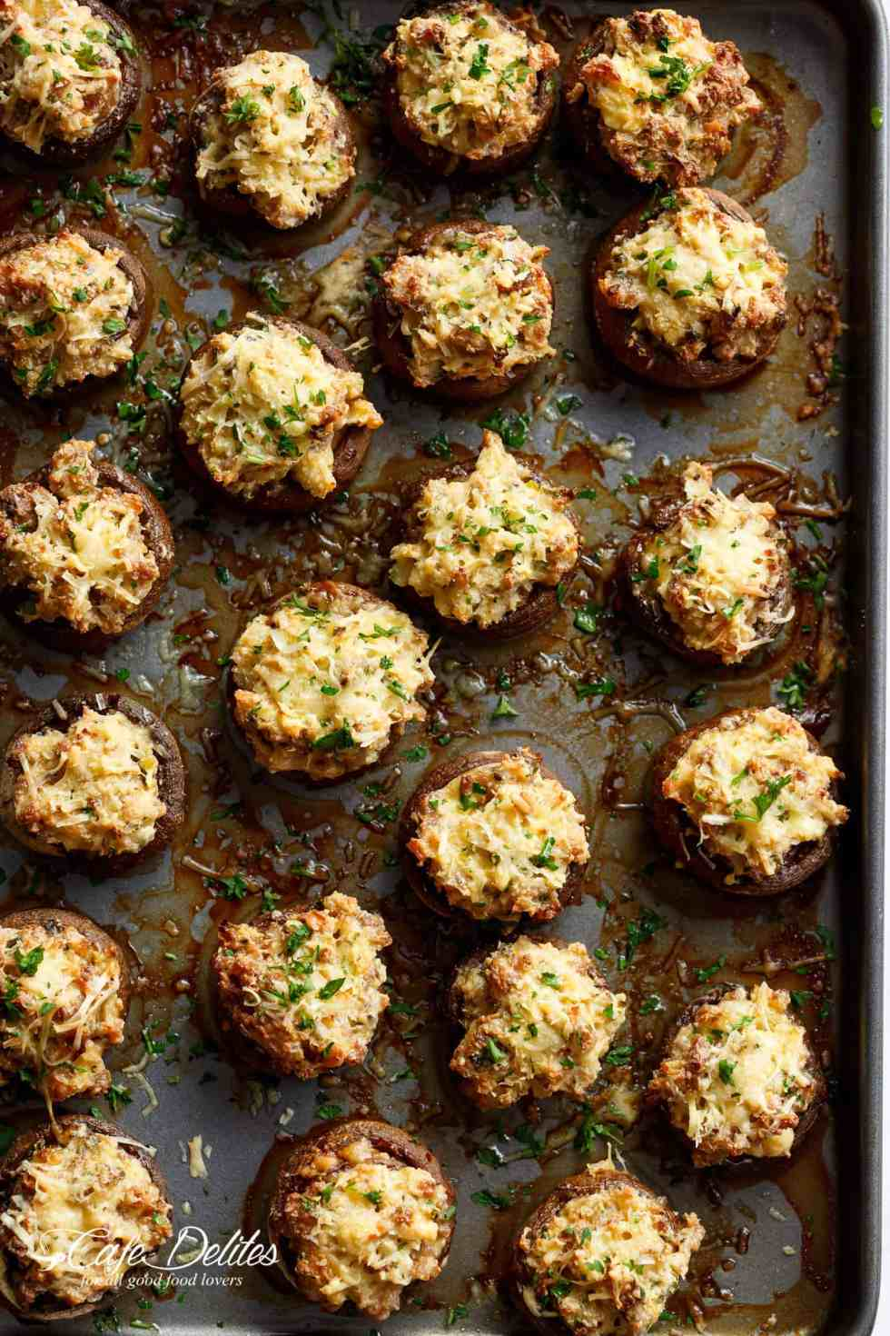 Sausage Cream Cheese Dip Stuffed Mushrooms are juicy and meaty on the outside, while creamy and full of flavour on the inside!   cafedelites.com