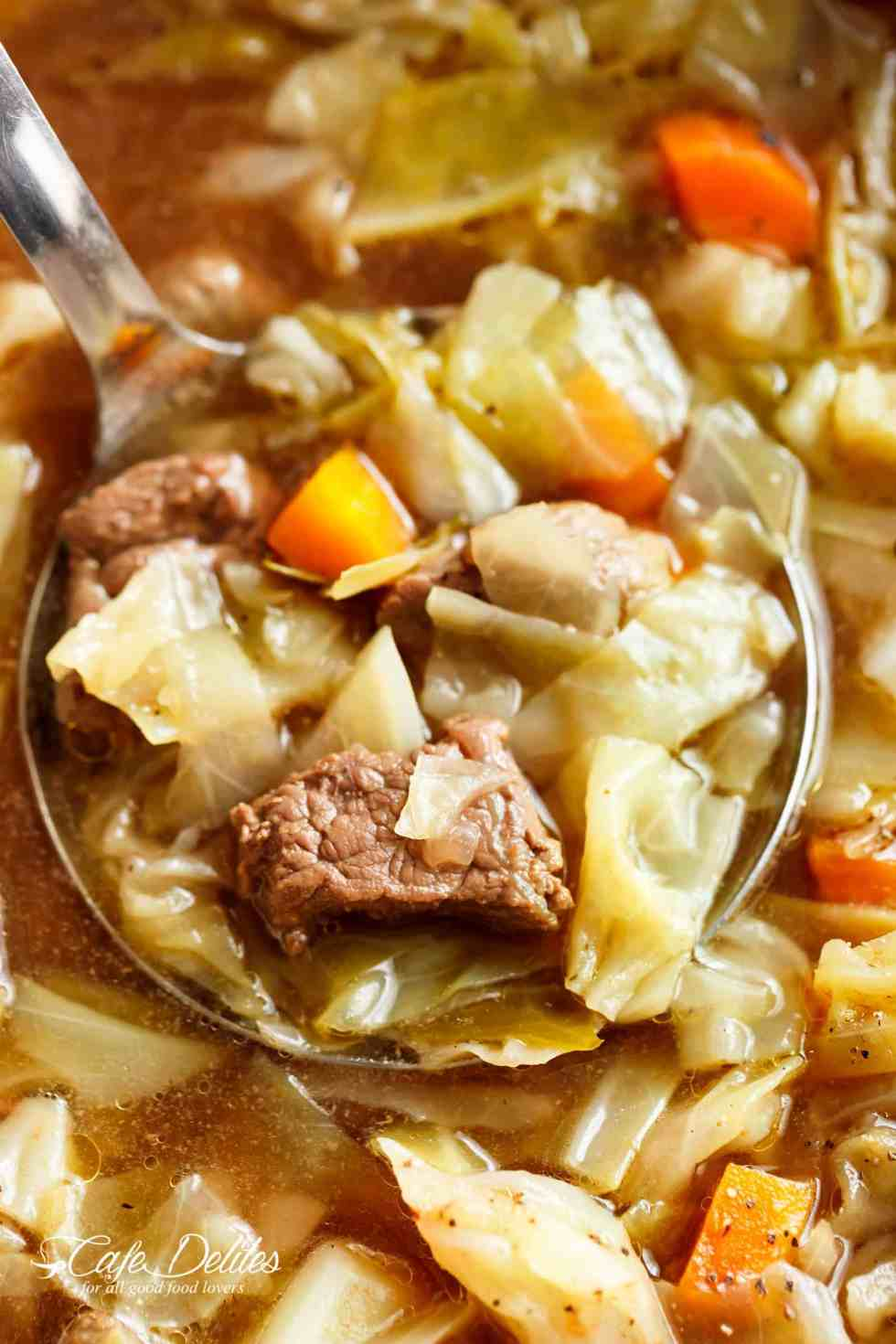 Beef Cabbage Soup is quick to make, healthy, low in carbs and full of delicious flavour! Made with minimal ingredients, full of cabbage, carrots, onions, garlic and tender, fall apart beef! | cafedelites.com