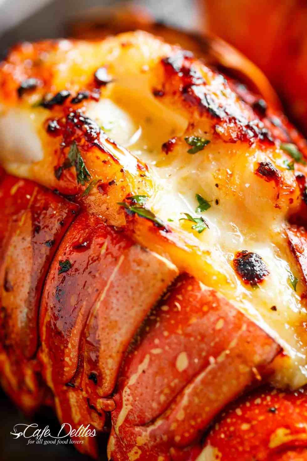 Chef-tasting, slightly charred broiled lobster tails | cafedelites.com