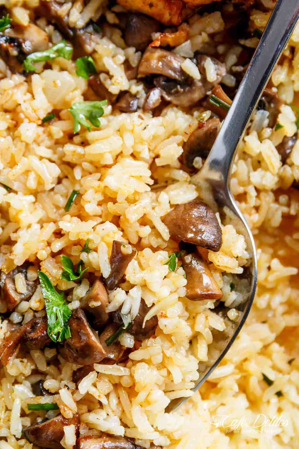 Mushroom Rice For Oven Baked Chicken and Rice   cafedelites.com