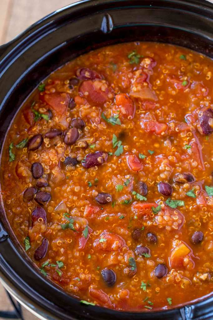 Slow Cooker full of Quinoa Chili