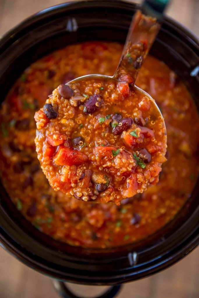 Ladle of Vegetarian Quinoa Chili