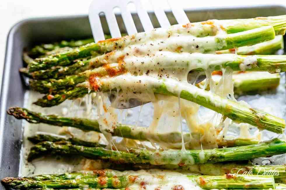 Cheesy Garlic Roasted Asparagus | cafedelites.com