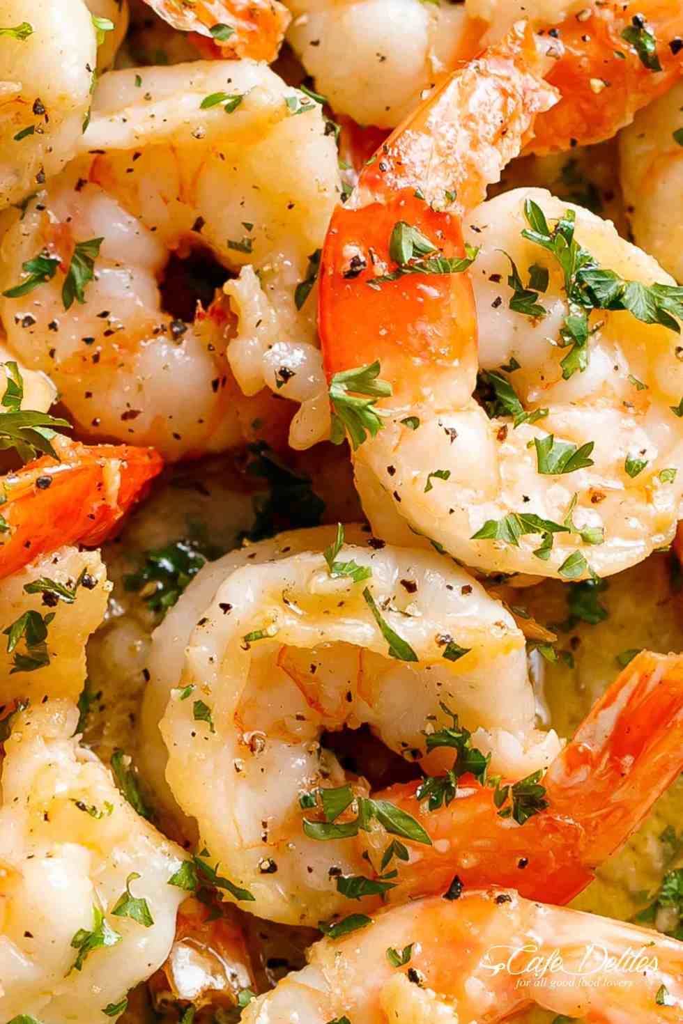 Garlic Butter Shrimp Scampi can be serve as an appetizer/light meal OR for dinner with pasta! Keep it low carb and serve it over zucchini noodles or with steamed cauliflower! | cafedelites.com
