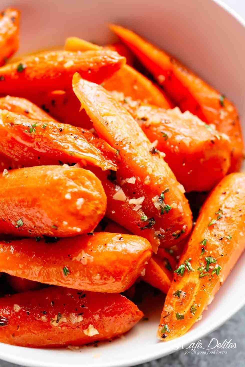 The Best Honey Garlic ButterRoasted Carrots   cafedelites.com