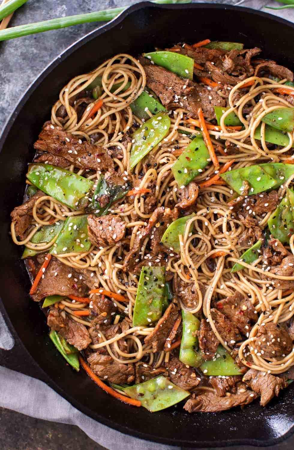 Sesame beef stir fry in skillet | cafedelites.com