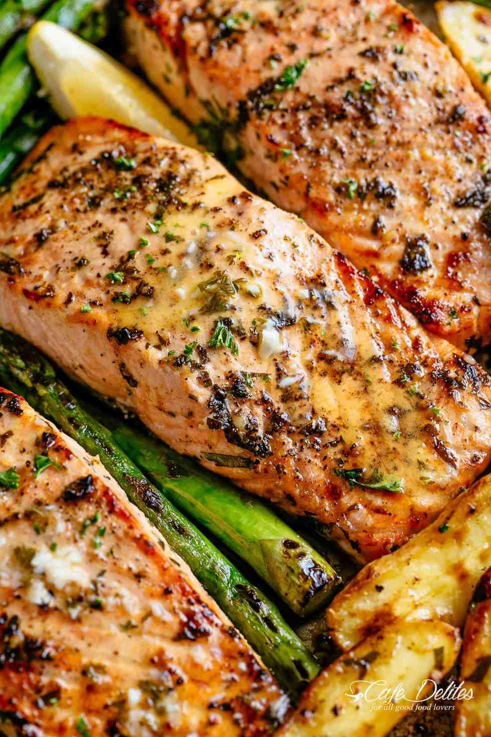 salmon baked butter garlic potatoes pan cook sheet oven asparagus sauce roast crispy