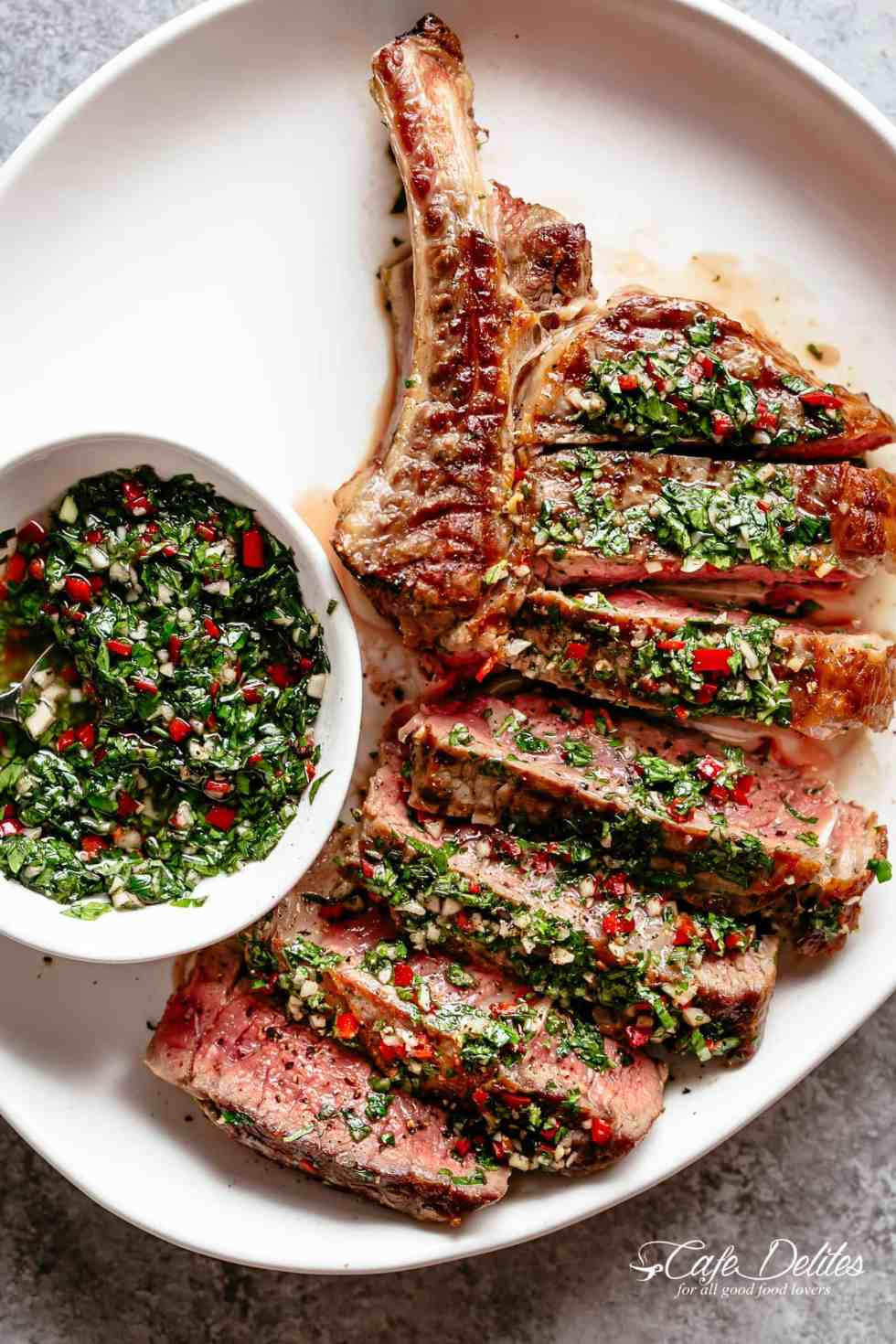 Steaks with Chimichurri! The most delicious silky condiment that drips over your steak   cafedelites.com