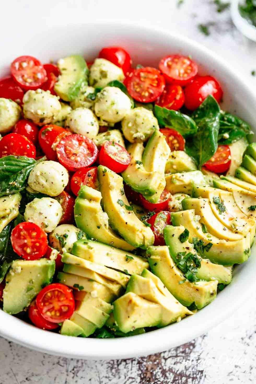 Caprese salad with creamy avocado slices is so easy to make! | cafedelites.com