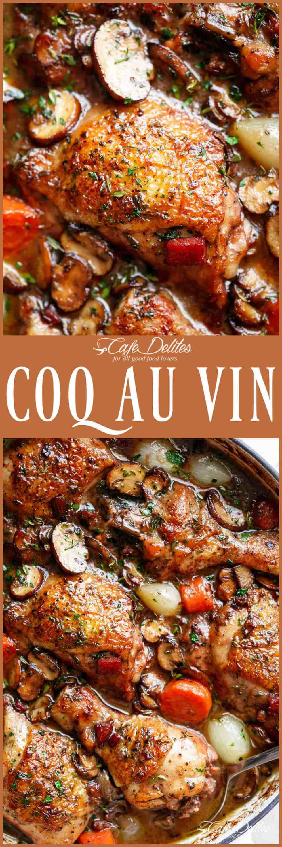 Coq Au Vin, or chicken in wine, is a popular classic French dishmade easy in one pan! With crispy chicken drumsticks, chicken thighs and bacon, this Coq au vin gets everybody talking!Serve with creamy mashed potato or cauliflower smothered with butter, and the most delicious chicken dinner is ready on the table! | cafedelites.com