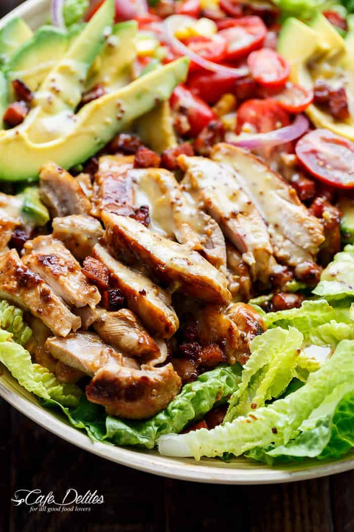 Honey Mustard Chicken Salad With Bacon, Avocado and a crazy good 5 ingredient dressing that doubles as a marinade! A popular reader favourite, this Honey Mustard Chicken Salad has been remade all over the world time and time again! A salad that's a meal in itself, this is THE ultimate in chicken salad recipes. | cafedelites.com