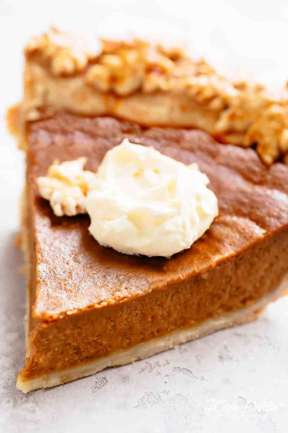 A slice of Pumpkin Pie with whipped cream!