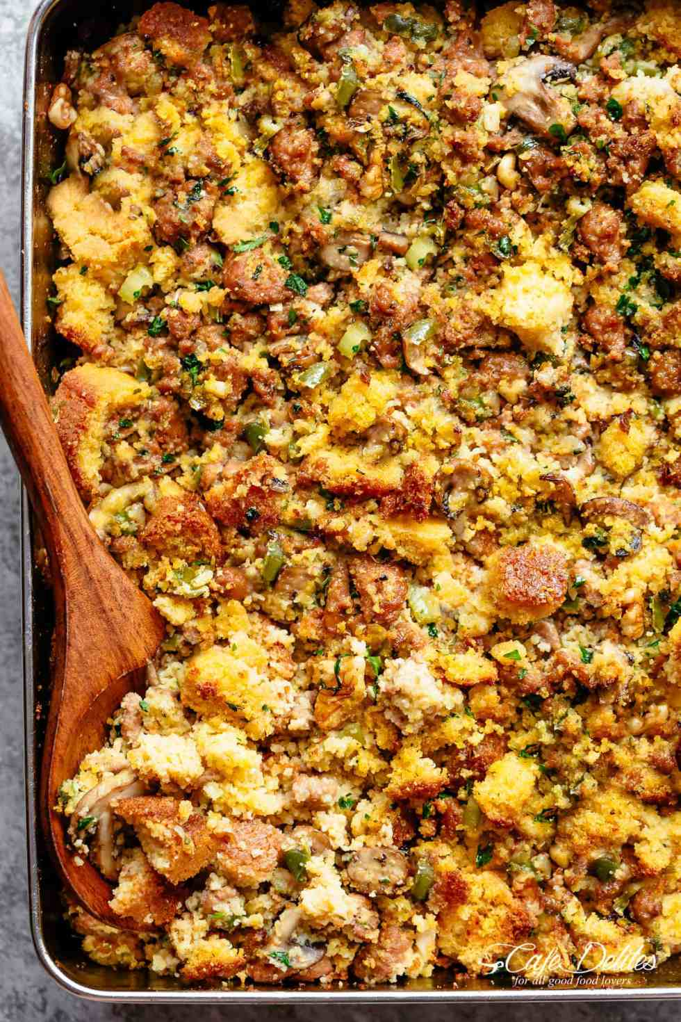 Cornbread Dressing recipe moist, light and fluffy with a perfect crispy, golden crust.