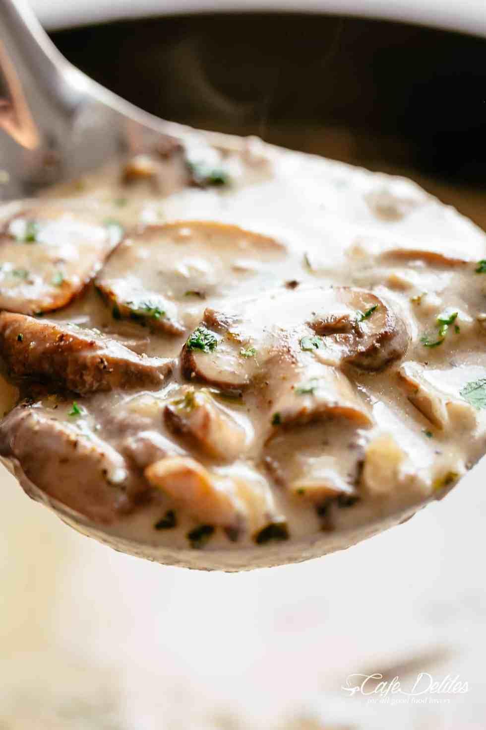 Homemade Creamy Mushroom Soup on a ladle | cafedelites.com