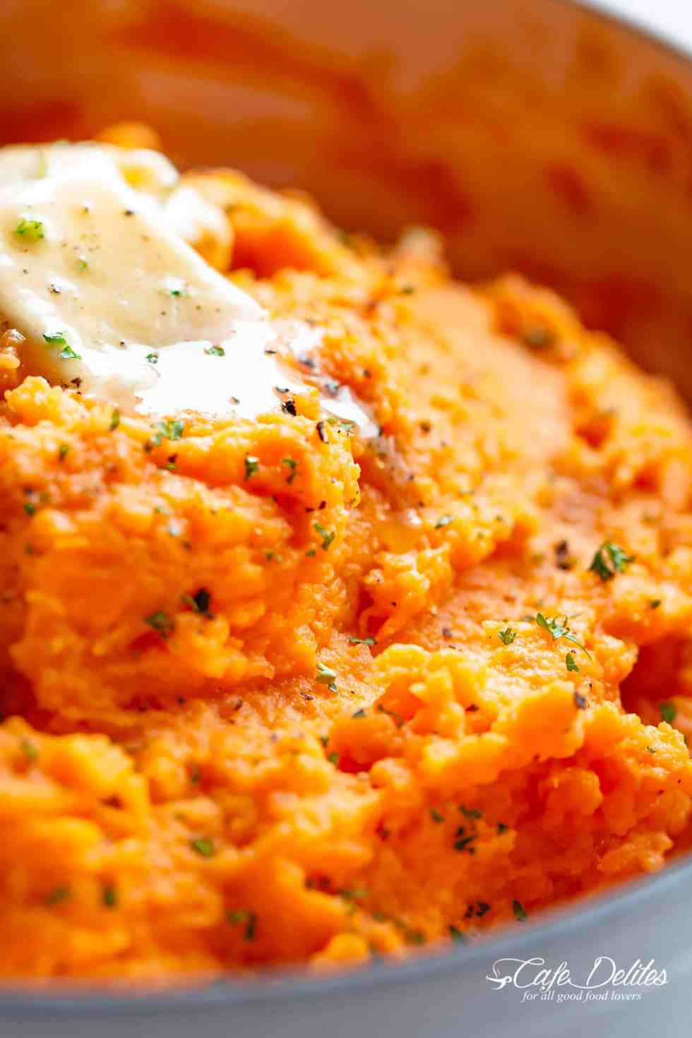 Easy Mashed Sweet Potatoes with butter and sour cream.