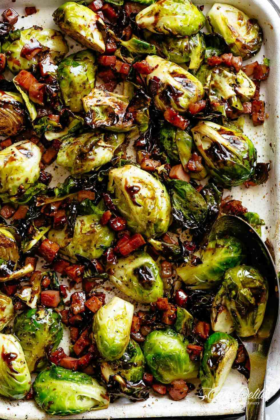 Garlic Roasted Brussels Sprouts with crispy bacon or pancetta, finished off with a balsamic reduction!