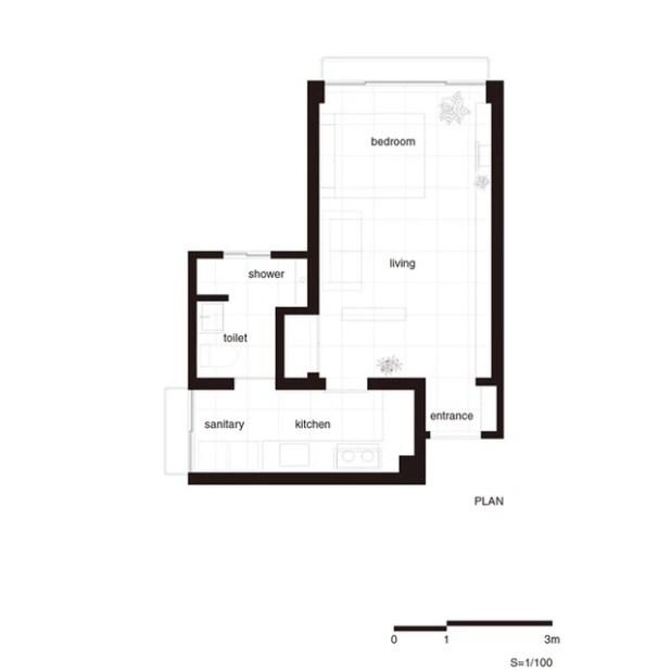 Toàn bộ sơ đồ bố trí không gian căn hộ.