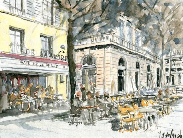 Cafe De La Mairie Saint Germain painting watercolor