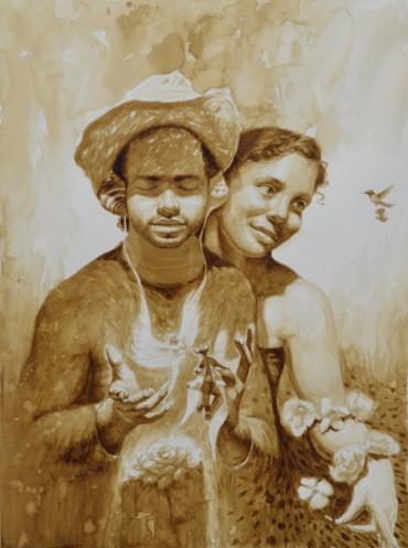 Pintar con café: Arte con aroma cubano en una galería de Florida