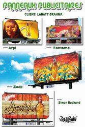 Affiche panneaux publicitaires graffiti CBS Labatt Brahma